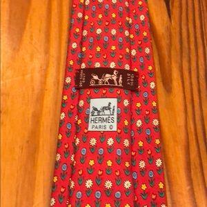 HERMÈS tie - red - floral